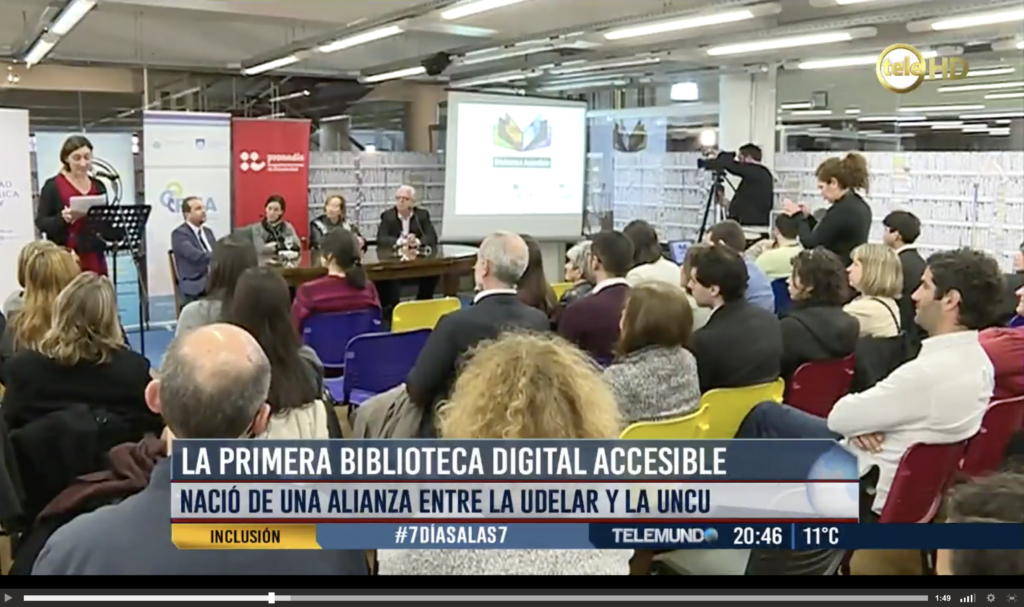 Cobertura de Telemundo del Lanzamiento de la Biblioteca Digital Accesible de Uruguay